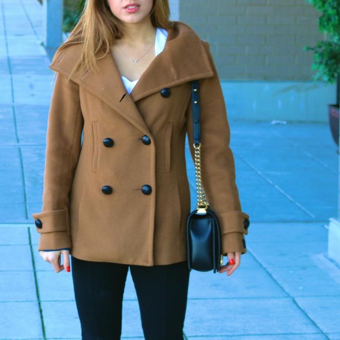 Aritzia Babaton Howell Wool Camel Coat  Chanel Boy Bag