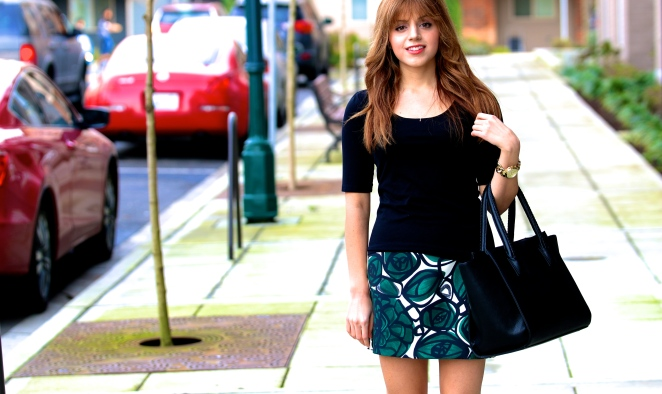 Black Burberry Trench Coat, Green Zara Skirt