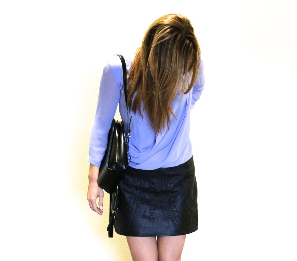 Aritzia lavender lilac blouse top, Zara leather min skirt