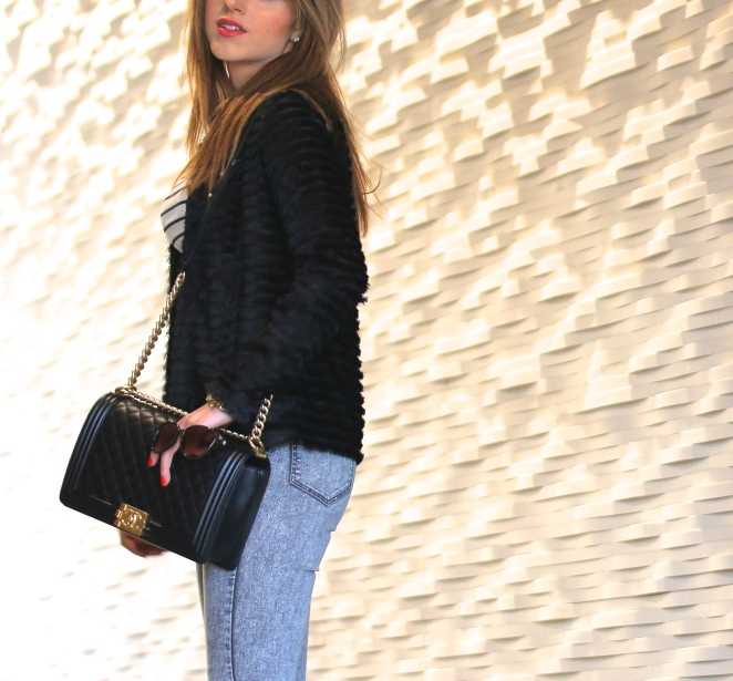 H&M Black Fringe Jacket, Chanel Le Boy Bag Black and Gold, Slim-fit Pants High waist grey jeans, Striped Top, Gucci Sunglasses