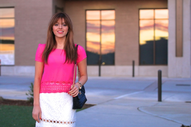 Topshop Nordstrom White Eyelet Lace Skirt and Target Crochet Trim Tee Neo Fuchsia